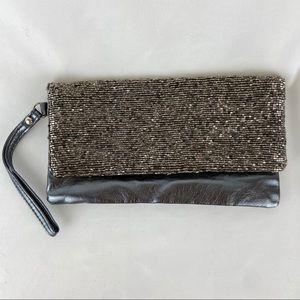 NY&C Gray Metallic Beaded Clutch
